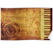 Grunge rose, piano and music notes Poster