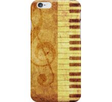 Grunge rose, piano and music notes iPhone Case/Skin
