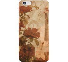 Grunge roses and violin iPhone Case/Skin