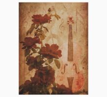 Grunge roses and violin Kids Tee