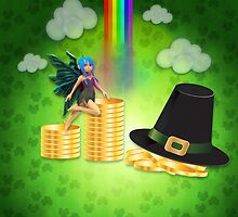 St Patrick's day background with coins and fairy by AnnArtshock