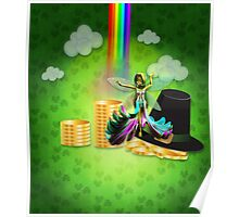 St Patrick's day background with coins and fairy 2 Poster