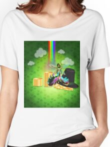 St Patrick's day background with coins and fairy 2 Women's Relaxed Fit T-Shirt