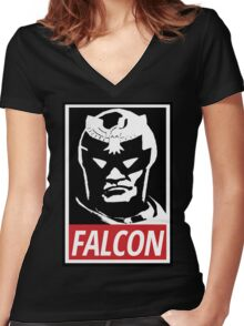 Captain Falcon: Obey Parody Women's Fitted V-Neck T-Shirt