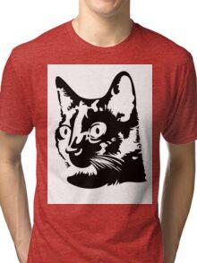 Black cat head with big round eyes Tri-blend T-Shirt