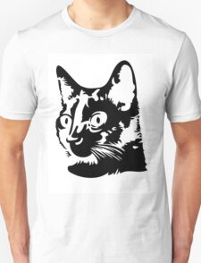 Black cat head with big round eyes T-Shirt