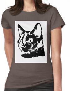 Black cat head with big round eyes Womens Fitted T-Shirt