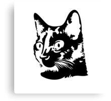 Black cat head with big round eyes Canvas Print