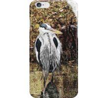 Great Blue Heron Hunting for Dinner - Watercolor Look iPhone Case/Skin