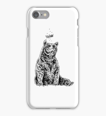 Bear with Crown (on White) iPhone Case/Skin