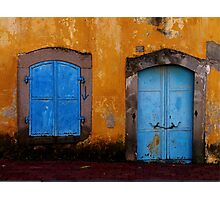 Blue on golden yellow, Bergama Photographic Print
