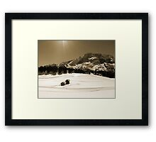 Little Snowy Hut by Mountains Framed Print