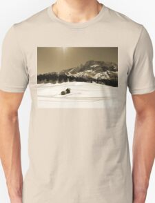 Little Snowy Hut by Mountains T-Shirt