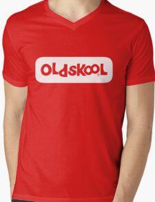 Oldskool logo - white Mens V-Neck T-Shirt