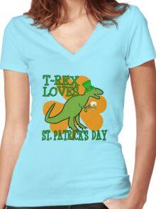 T-REX LOVES ST. PATRICK'S DAY Women's Fitted V-Neck T-Shirt