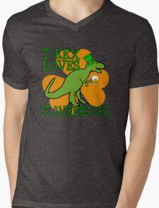 T-REX LOVES ST. PATRICK'S DAY Mens V-Neck T-Shirt