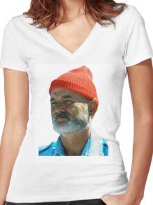 Steve Zissou - Bill Murray  Women's Fitted V-Neck T-Shirt