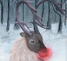 Realistic Rudolph Reindeer Acrylic Christmas Painting by Anila Tac