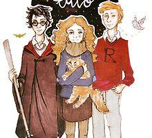 The Trio . ( Harry, Ron , Hermione.) by arctickym