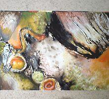 Bitumen Mixed Media Abstract 02 by Dani Louise Sharlot