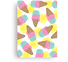 Retro Pink Strawberry an Mint Ice-Cream Cones Canvas Print