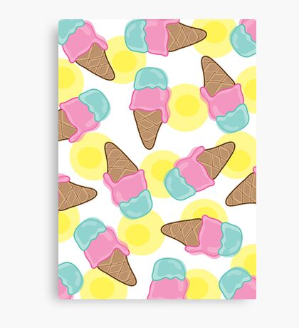 Retro Pink Strawberry And  Mint Ice-Cream Cones Canvas Print