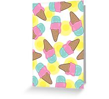 Retro Pink Strawberry an Mint Ice-Cream Cones Greeting Card