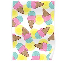 Retro Pink Strawberry And  Mint Ice-Cream Cones Poster