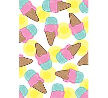 Retro Pink Strawberry an Mint Ice-Cream Cones Photographic Print