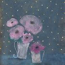 Pink flowers and golden dots by Tine  Wiggens