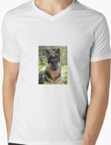 Alsatian German Shepherd Portrait Mens V-Neck T-Shirt