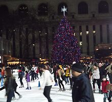 Bryant Park Christmas Tree, Bryant Park Skating Rink, Bryant Park, New York City  by lenspiro