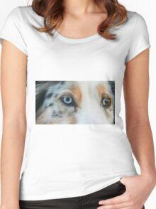 Australian Shepherd Blue Merle Eye Women's Fitted Scoop T-Shirt