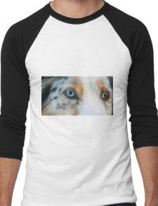 Australian Shepherd Blue Merle Eye Men's Baseball ¾ T-Shirt