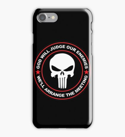 god will judge our enemies we'll arrange the meeting - red iPhone Case/Skin