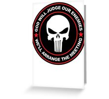 god will judge our enemies we'll arrange the meeting - red Greeting Card