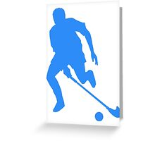 Blue Field Hockey Player Silhouette Greeting Card