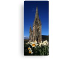 Llandaff Cathedral and Daffodils Canvas Print