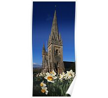 Llandaff Cathedral and Daffodils Poster