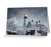 Portland Head Lighthouse with Snow Maine Greeting Card