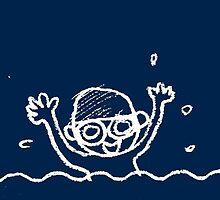 Swimming boy (blue) by amberisamber
