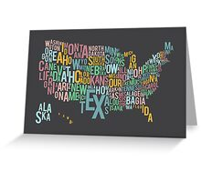 Typographic US Map Greeting Card