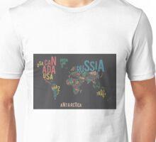 Typographic World Map Unisex T-Shirt