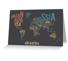 Typographic World Map Greeting Card