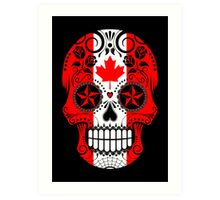 Sugar Skull with Roses and Flag of Canada Art Print