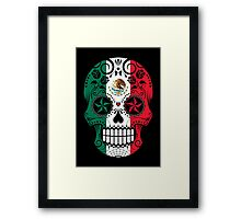 Sugar Skull with Roses and Flag of Mexico Framed Print