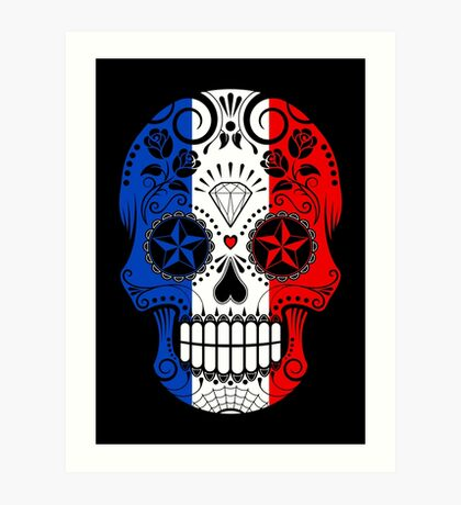 Sugar Skull with Roses and Flag of France Art Print