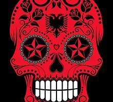 Sugar Skull with Roses and Flag of Albania by Jeff Bartels