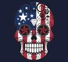 Sugar Skull with Roses and Flag of United States One Piece - Short Sleeve