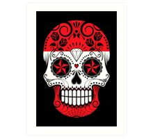 Sugar Skull with Roses and Flag of Austria Art Print